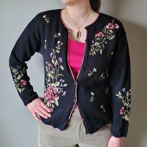 Tiara vintage beaded floral embroidered cardigan